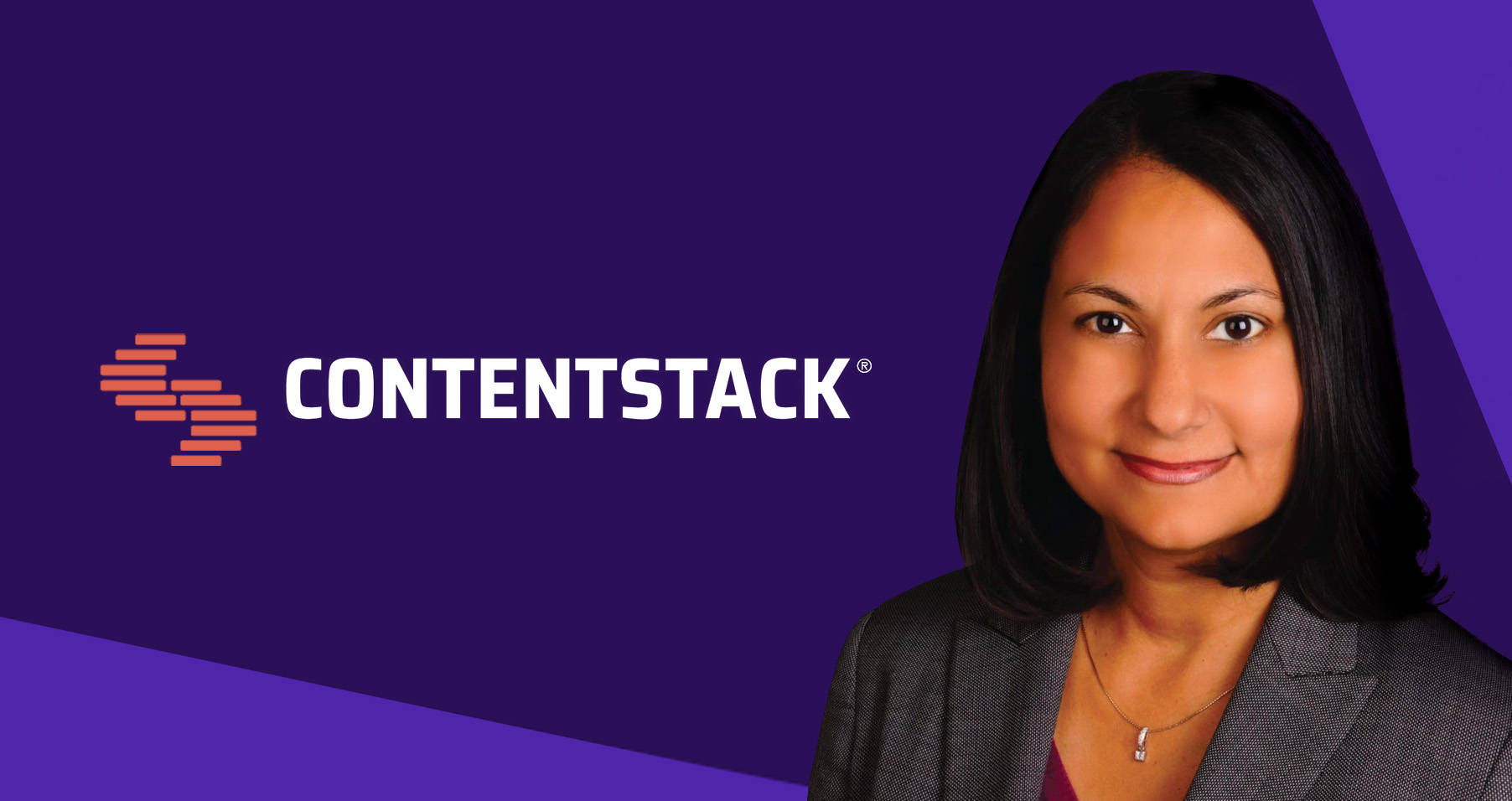 Contentstack logo with image of Neha Sampat, CEO