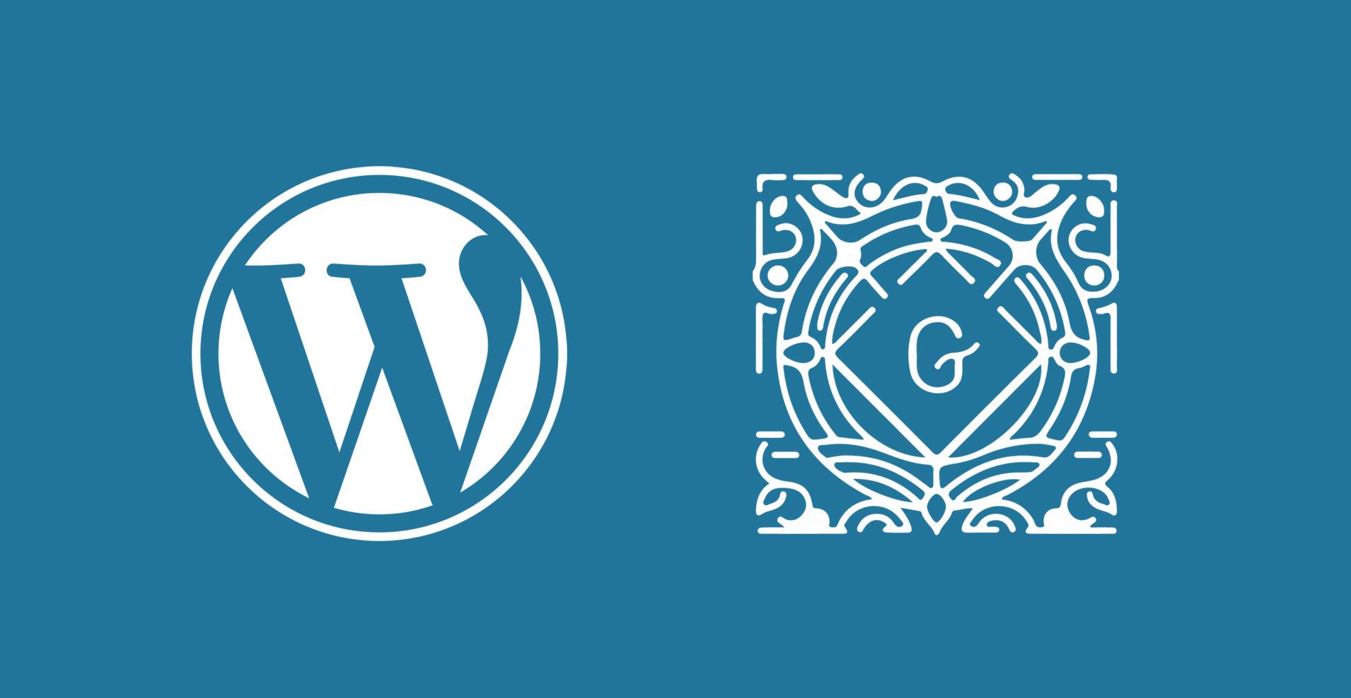 WordPress and Gutenberg logos